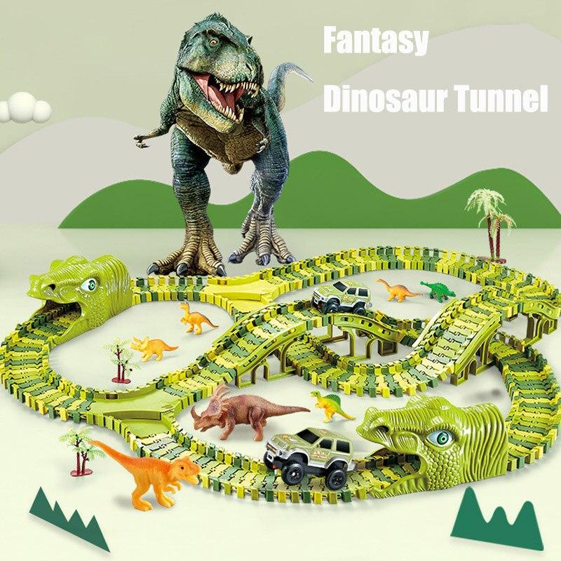 211Pcs Dinosaur Railway Toy Car Diy Roller Coaster Track Racing Set Toys for Boy Children Educational Bend Flexible Race Game